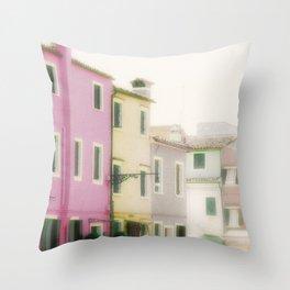 Pastel Burrano, Italy Throw Pillow