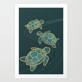 Japanese Pond Turtle / Teal Art Print