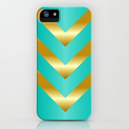 Gold strips on royal green gradient iPhone Case