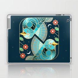 Beautiful Art Deco Midnight Bluebirds And Blossoms Laptop & iPad Skin