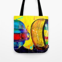 daft punk Tote Bags featuring Daft Punk by Archan Nair