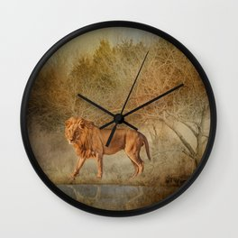 Lions At The River Wall Clock