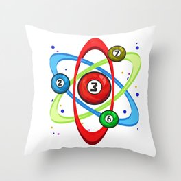 Awesome Billiards Ball Atom Science Pool Player Throw Pillow