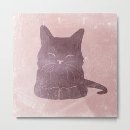 Happy purple cat illustration on pink for girls Metal Print