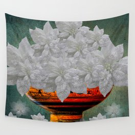WHITE POINSETTIAS IN A BOWL Wall Tapestry