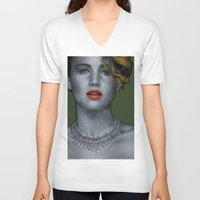 jennifer lawrence V-neck T-shirts featuring Jennifer Lawrence by Marv Castillo