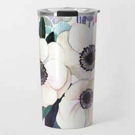 Vintage Watercolor print with Blooming Flowers. poppy, wildflowers, succulent and magnolia Travel Mug