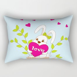 cute bunny with love on the stump Rectangular Pillow