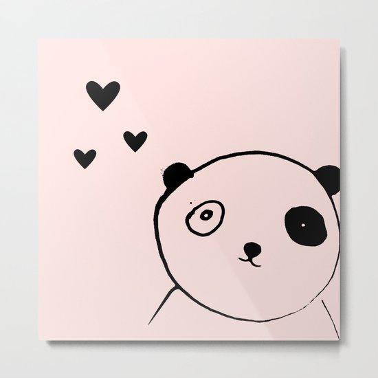 Panda in love pink Metal Print