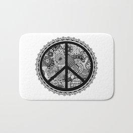 Zen Doodle Peace Symbol Black And White Bath Mat