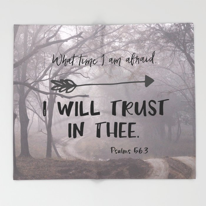 I will trust in Thee Bible Verse  Throw Blanket