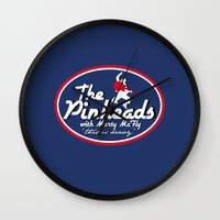 marty mcfly Wall Clocks featuring The Pinheads with Marty McFly by CarloJ1956
