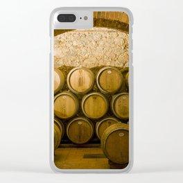 Oak Barrels in Chianti Wine Cellar, Italy Clear iPhone Case