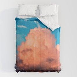 Pink And Dark Purple Cumulus Clouds, Blue Sky. Summer Evening Comforters