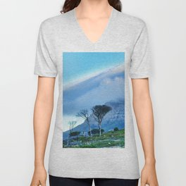 Table Mountain blanketed in cloud Unisex V-Neck