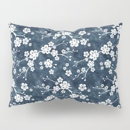 Navy and white cherry blossom pattern Pillow Sham