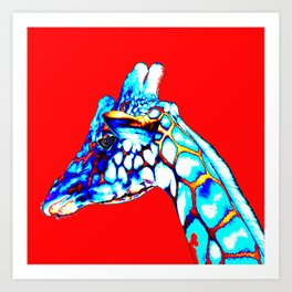 Colorful Giraffe Red (Left facing) Art Print