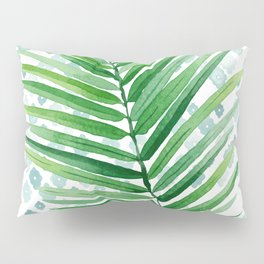 Tropical Palm Frond Watercolor Painting Pillow Sham