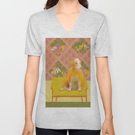 Farm Animals in Chairs #1 Cow Unisex V-Neck