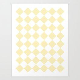 Large Diamonds - White and Blond Yellow Art Print
