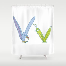 V Uppercase/Lowercase Pair, no border Shower Curtain