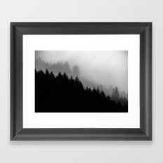 Tree Fog Forest - Not Tree Frog Forest (Cascadia Travel Trees) the misty trees in nature photograph Framed Art Print