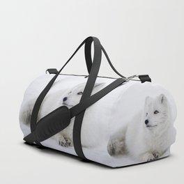 White snow arctic fox Duffle Bag