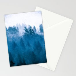 Blue Winter Day Foggy Trees Stationery Cards