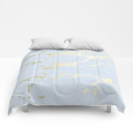 Kintsugi Ceramic Gold on Sky Blue Comforters