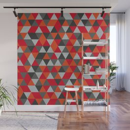 Hot Red and Grey / Gray -  Geometric Triangle Pattern Wall Mural