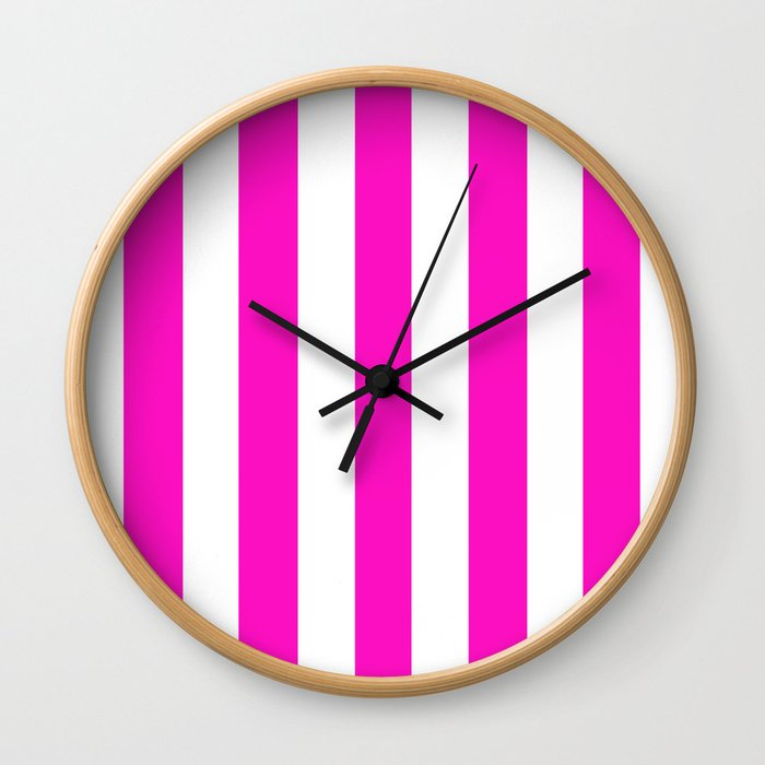Shocking Pink Solid Color White Vertical Lines Pattern Wall Clock