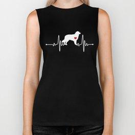 Australian Shepherd dog heartbeat Biker Tank