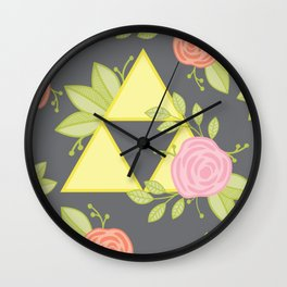 Garden of Power, Wisdom, and Courage Pattern in Grey Wall Clock