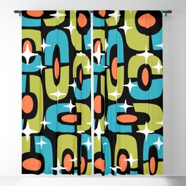 Mid Century Modern Cosmic Abstract 124 Olive Cyan Orange and Black Blackout Curtain