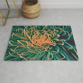 Green & orange succulent Rug