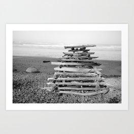 Driftwood Fort Beach Coast Coastal Nautical Seascape Northwest Pacific Ocean Washington Teepee Waves Art Print