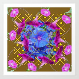 Nut Brown  Pink-Purple-Blue Morning Glory Abstract Art Print