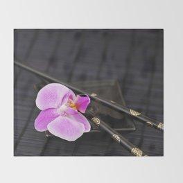 Zen pink Orchid flower on black Throw Blanket
