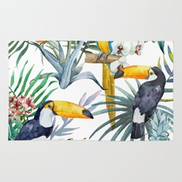 Big Tropical Pattern Toucans Parrot Pineapples Rug