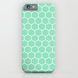 Honeycomb (White & Mint Pattern) iPhone Case