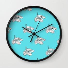 Aqua hibiscus Wall Clock