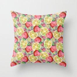 strawberry citrus Throw Pillow