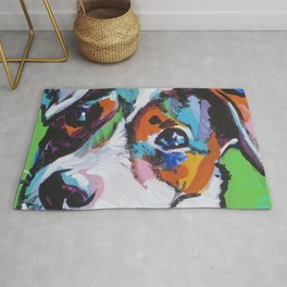 Fun JACK RUSSELL TERRIER Dog bright colorful Pop Art Rug