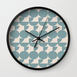 Mid Century Inspired Geometric Shapes in Soft Grey Blue Wall Clock