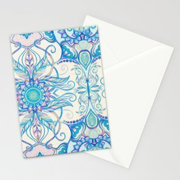 Teal Blue, Pearl & Pink Floral Pattern Stationery Cards