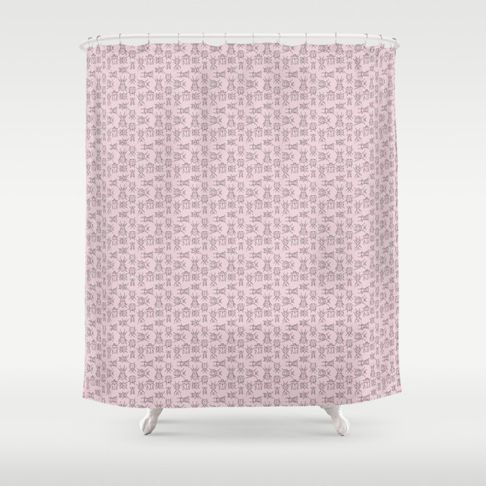 Beetles (Primrose Pink) Shower Curtain