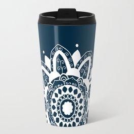 Simple white mandala on navy blue Travel Mug