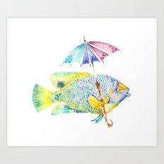 Fishy Fish - Original Watercolor of Yellow Mask Angel Fish with Umbrella Art Print