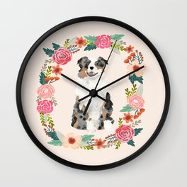 australian shepherd blue merle floral wreath dog gifts pet portraits Wall Clock