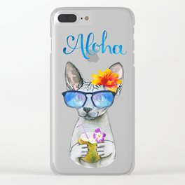 Aloha Cat // watercolor sphyx cat on holiday Clear iPhone Case